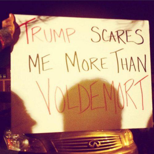 """Pancarte écrite à la main: """"Trump scores me more than Voldemort"""""""