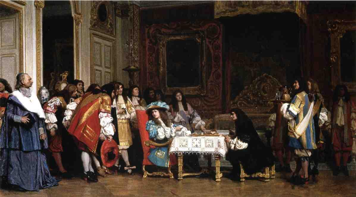 Tableau de Jean-Léon Gérome (1862) représentant Louis XIV partageant son repas avec Molière devant les courtisans assemblés.