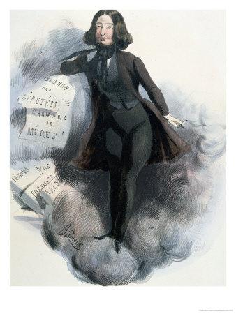"""George Sand en pantalon fume et laisse échapper des tracts : """"chambre des députées"""", """"chambre des mères"""""""