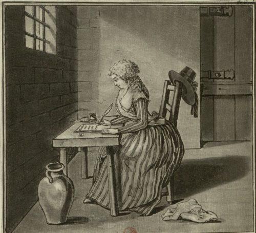 Estampe représentant Charlotte Corday en prison écrivant sa dernière lettre à son père.