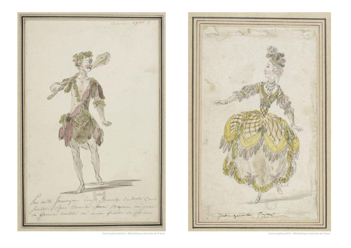 Costume de sauvage et costume d'inca pour deux entrées de l'opéra-ballet de Rameau, les Indes Galantes.